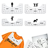 Tshirt Alignment Ruler Guide to Center Designs, T-Shirt Ruler Alignment Tool for Vinyl Alignment, Ruler Guide Set for Heat Press (4pcs)