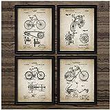 FUXUERUI Cartel vintage Impresión de bicicleta Diseño de bicicleta Decoración de pared Arte Lienzo Pintura Invención de bicicleta Imágenes retro Habitación en casa Dec 50X65cmX4 Sin marco