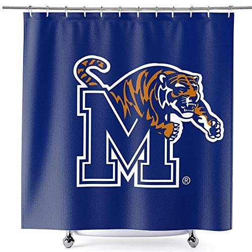 College Flags & Banners Co. Memphis Tigers Shower Curtain with Rod Hooks Soft Micro Fiber Polyester