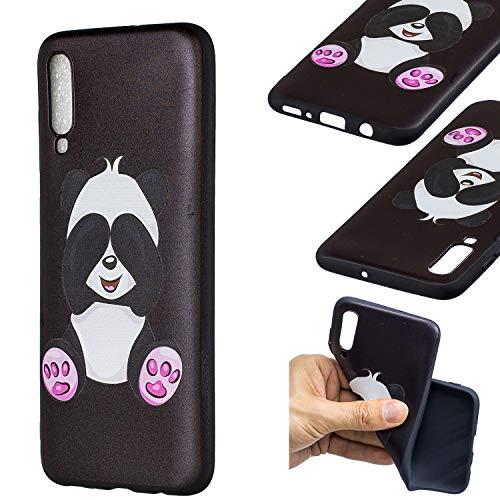 HopMore Compatible pour Coque Samsung Galaxy A70 2019 Silicone Noir Étui Motif Drôle Créative Panda Kawaii Etui Samsung A70 Souple Antichoc Housse de Protection Mince Gel Bumper Case Fine - Panda
