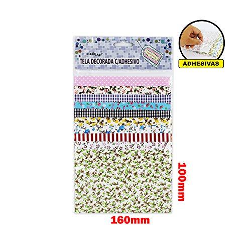 Starplast Tela Decorada de Adhesivas Diseño Flores 10 Diseños Distintos, 50 Hojas, 10x16cm, De Tela