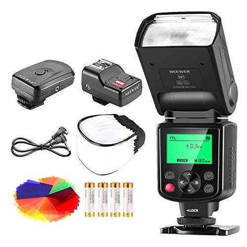 Neewer 750II TTL Flash Kit for Nikon D7200 D7100 D7000 D5500 D5300 D5200 D5100 D5000 D3300 D3200 D3100 D3000 D700 D600 D500 D90 D80 D70 D60 D50 Cameras with Wireless Trigger,Color Filters, Diffuser