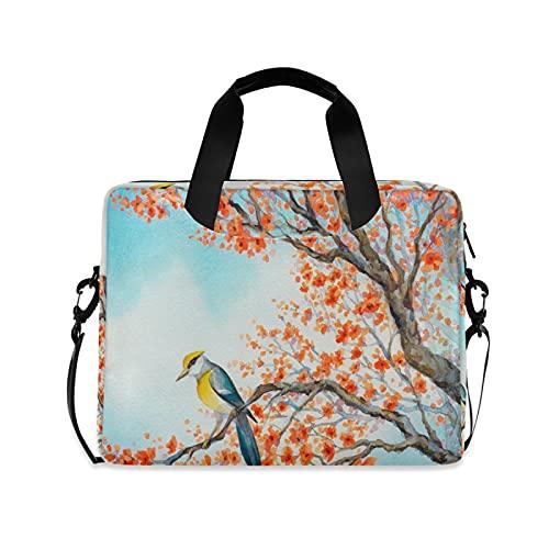 JNlover Animal Bird Floral Painting Laptop Bag 16 inch, Portable Sleeve Briefcase Laptop Case Notebook Computer Carrying Case Bag for Women Men