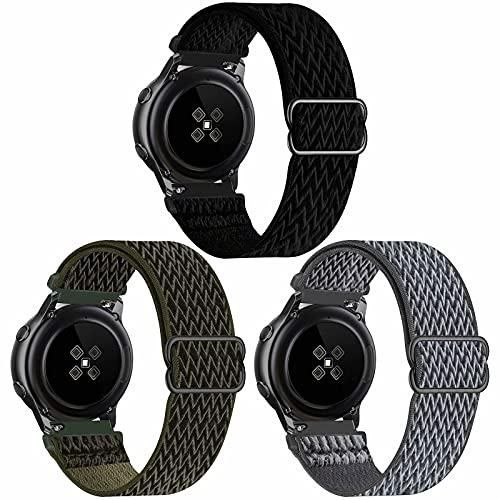 SSEIHI 22mm 3pack Correa Compatible con Samsung Galaxy Watch 3(45mm/44mm)/Watch 46mm/Gear S3 Classic/Frontier/Huawei GT2,Reloj de Repuesto Deporte Strap,Nylon Banda,Black/Army Green/Storm Gray,22mm