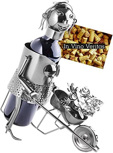 Brubaker Soporte para botellas de vino con escultura de metal para jardinería, regalo de jardín para amantes del vino, con tarjeta de felicitación