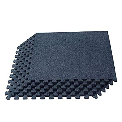 We Sell Mats 3/8 Inch Thick Interlocking Foam Carpet Tiles Durable Carpet Squares Anti Fatigue Support for Home Office or Classroom Use, 24 in x 24 in, Charcoal Gray (CRT-10M)
