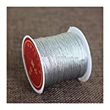 HLWJ 0.2/0.4/0.6/0.8 / 1mm Color Silver Gold Wire Nylon String Beaded DIY Tassel Bracelet Jewelry Making (Color : Silver, Size : 1mm About 20m)
