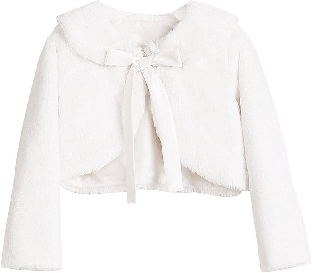 BluNight Collection Little Girls Long Sleeve Ribbon Faux Winter Bolero Jacket Knit Sweater