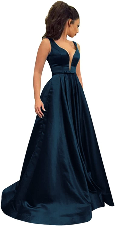 Harsuccting Deep VNeck Sleeveless Backless Sash Long Satin Evening Prom Dress