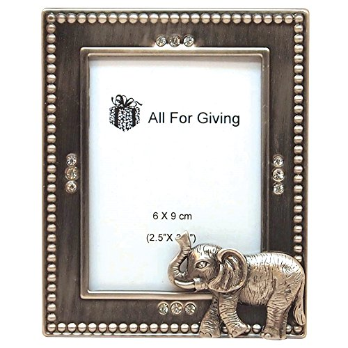All For Giving Elephant Picture Frame, 2.5 by 3.5-Inch, Pewter