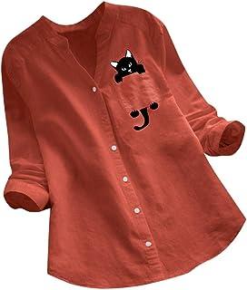 aihihe Women Cotton Linen Casual Loose Button Down Shirt Cat Print Long Sleeve Basic Blouse Henley Tops Tunic Tees