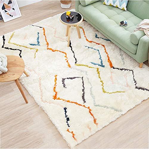 Qud DT Alfombra de estilo nórdico para salón nocturno, alfombra de peluche, alfombra 11/27 (color B, tamaño: 130 x 200 cm)
