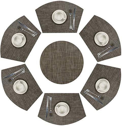 Starlight&Infinity Juego de 7 manteles individuales redondos de PVC de 33 cm, lavables, redondos, de forma redonda, de vinilo, aislamiento térmico, poliéster, color marrón