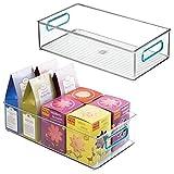 mDesign Juego de 2 cajas organizadoras con asas – Organizador de frigorífico para almacenar alimentos – Contenedor de plástico sin BPA para los armarios de la cocina o la nevera – transparente/azul