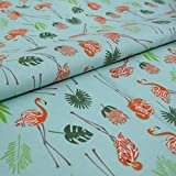 Hans-Textil-Shop 1 Meter Stoff Meterware Flamingo Palme