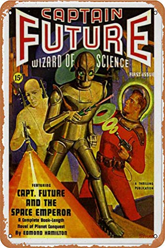 Captain Future and The Space Emperor Wall Tin Sign Retro Iron Poster Painting Plate Tin Vintage Art Personalized Creativity Decoration Crafts for Cafe Bar Garage Home