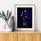 XMYC Lienzo Arte de la Pared Acuario Astrología Cartel Noche nórdica Galaxy Horóscopo Imagen Azul Oscuro Impresiones Decoración de la habitación de los niños 40x60cm sin Marco