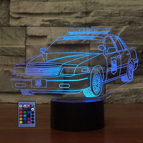 Créatif 3D Voiture de Police Nuit Lampe Art Déco Lampe LED 3D Lampe Contrôle à distance 7/16 Couleurs Change Veilleuse USB Powered Enfants Cadeau Anniversaire Noël Cadeau