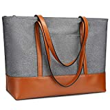 YALUXE Genuine Leather Laptop Tote for Women Shoulder Bag Nylon fit 15.6 inches Large Capacity Vintage Style Soft Work