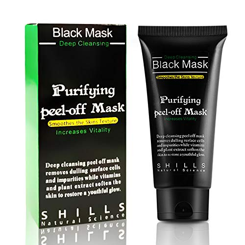 Blackhead Remover Mask, Charcoal Peel Off Black Mask, Activated Charcoal Mask Natural Deep Cleaning Facial Mask for All Skin Types Deep Cleansing Pore & Acne by JUYOU (Black 50ml)