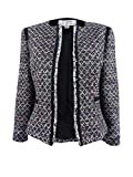 Tahari by ASL Round Neck Open Boucle Jacket with Contrast Shoulder and Pocket Trim Black/White/Blue 10