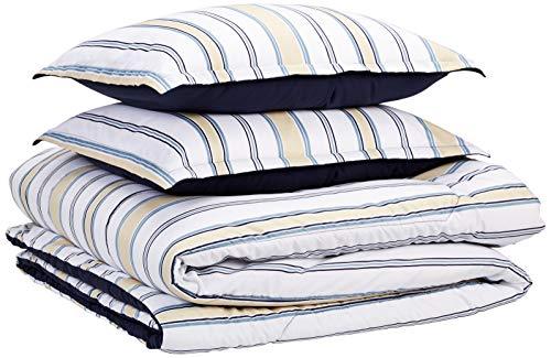 AmazonBasics Comforter Set, Full / Queen, Blue and Tan Stripes, Microfiber, Ultra-Soft