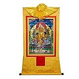 ZDDZ Tapiz Amarillo God of Wealth Thangka Corazón de Papel Kraft Chapado En Oro con Tapices de Tela de Seda Cortina para La Cabeza a Prueba de Polvo para Meditación de Decoración del