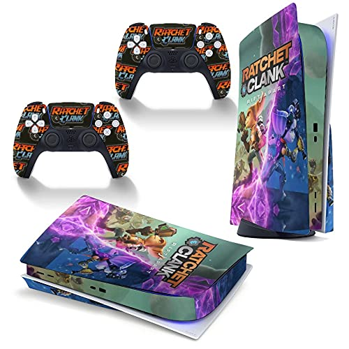 Ratchet Clank Rift Apart Games Temed PS5 Skin Stickers Full Body Vinyl Skins Wrap Decal Cover para Playstation 5 consola y 2 controladores anti polvo cubierta disco edición