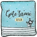 Sheepworld 46462 Plüschkissen Gute Laune, Zierkissen mit Streifen, 25 cm x 25 cm, Hellblau,...
