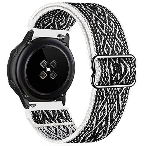 GBPOOT 20mm Correa Compatible con Samsung Galaxy Watch Active 2(40mm/44mm)/Watch 3 41mm/Watch 42mm/Gear S2,Reloj Ajustable de Repuesto Deporte Strap,Pulsera Nylon Banda,BlackWhite ,20mm