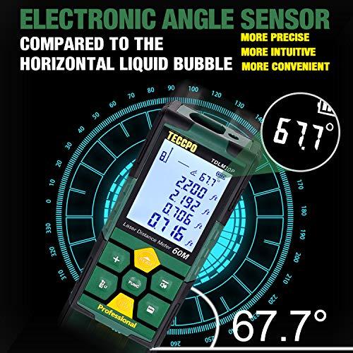 TECCPO Laser Distance Measure, Rechargeable, 196ft, Digital Laser Measurement Tool, 99 Sets Data Storage, Electronic Angle Sensor, LCD Backlit, Measure Distance, Area, Volume, Pythagoras - TDLM10P