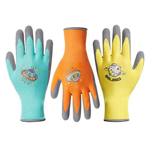 COOLJOB 3 Pairs Kids Gardening Gloves for Age 6-8, Grippy Rubber Coated Garden Work Gloves for Children, Orange & Green & Yellow, Medium Size (3 Pairs M)