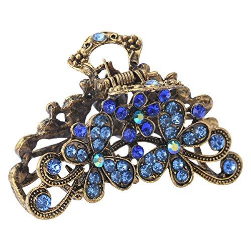 Fashion Vintage Rhinestone Metal Alloy Fancy Hair Claw Jaw Clips Pins - Retro Chic Hair Updo Grip Hair Catch Barrette Hair Accessories for Women (Blue)