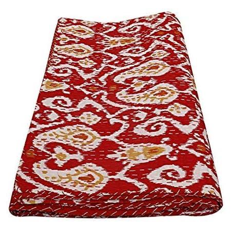 Indian Handmade Kantha Quilt Mandala Red Twin Cotton Bedspread Ethnic Blanket