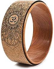Haude Cork Yoga Wheel for Yoga Poses and Backbends Inversions Wood-Effect and Mandala Print, Dharma Yoga Prop Wheel