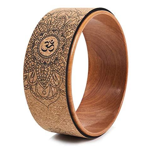 JVSISM Ruota Yoga nel Sughero per Posizioni Yoga e Piegamenti All Indietro, Inversioni Effetto Legno e Stampa Mandala, Ruota di Sostegno Dharma Yoga