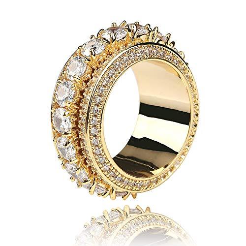 Anillo de circonita para hombre y mujer, diseño de hip hop giratorio para parejas de boda, compromiso, regalo de recuerdo (oro, plata)., 123, dorado, 11