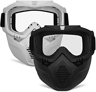 POKONBOY 2 Pack Detachable Face Masks, Tactical Mask with Goggles Compatible with Nerf..