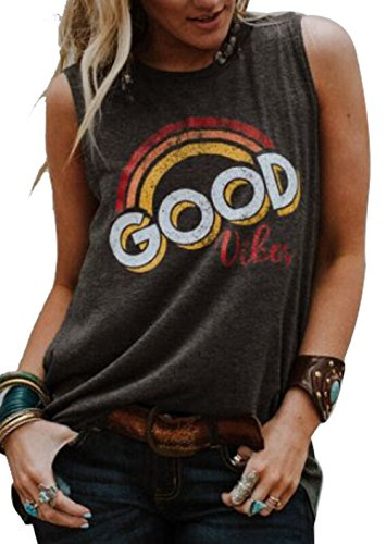 Good Vibes Rainbow Tank Top Women's Vintage Sleeveless Casual Graphic Tee T-Shirt Size M (Brown)