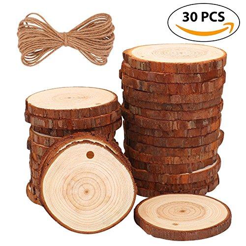 EVERGD rodajas de madera natural, 30 unidades, sin terminar, preperforado con agujero para árbol de corteza, discos para bricolaje, manualidades, centros de mesa, posavasos, adornos de Navidad