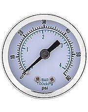 """Manómetro de presión de agua, 1/8""""BSPT Manómetro de presión de metal Manómetro Herramienta de medición de la presión para agua Aire Aceite Dial Instrumento 0-60psi 0-4bar"""