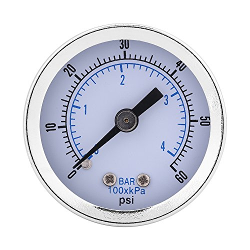 """Rosca BSPT de 1/8""""Mini manómetro de baja presión Interfaz de metal Medidor de presión de agua Herramienta hidráulica de medición con rango de medición de 0-4 bar para combustible aire aceite"""