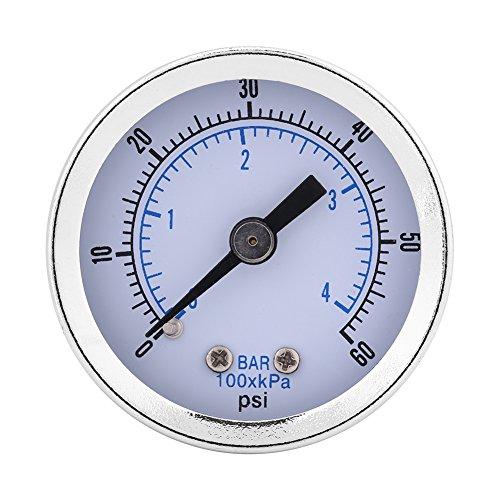 Manómetro de presión de agua, 0-60psi 0-4bar 1/8'BSPT Manómetro de manómetro para instrumento de dial de agua, aire y aceite, cómodo de llevar