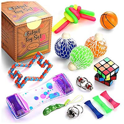 Sensory Fidget Toys Set, 22 Pcs., Stress Relief and Anti-Anxiety Tools Bundle for Kids and Adults, Marble and Mesh, Pack of Squeeze Balls, Soybean Squeeze, Flippy Chain, Liquid Motion Timer & More