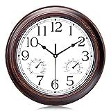 Lafocuse Reloj de Pared con Termometro e Higrometro Silencioso Vintage 30 cm Reloj de Cuarzo Temperatura Humedad Color Caoba para Cocina Salon Oficina