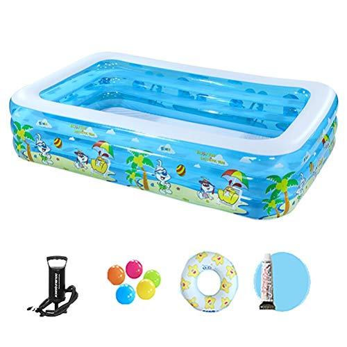 Zhyaj Rechteckig Kinder Pool Gartenpool Rechteckig Übergroßen Tragbar Faltbar Für Jedes Alter,Blasenboden,122 * 90 * 52cmB