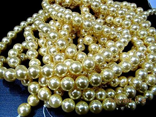 Shree_Narayani Perlas de perlas teñidas de color dorado cuentas redondas de 6 a 7 mm, tamaño de hebra de 15 a 16 pulgadas de largo oro amarillo perlas de piedra de nacimiento de 1 hebra