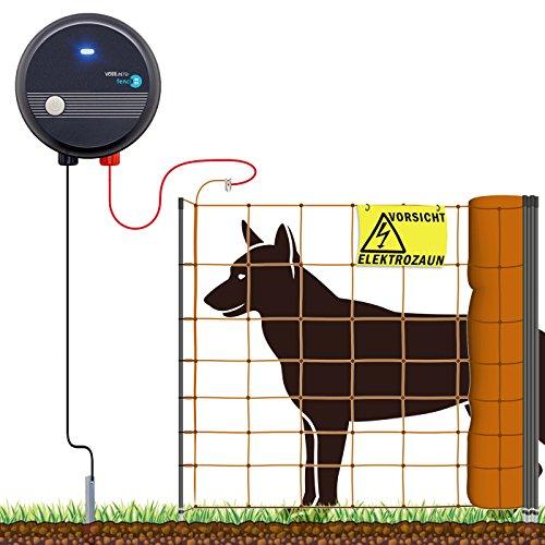 VOSS.farming 50m Hundezaun Komplettset Orange für große Hunde, Weidezaungerät Elektronetz Erdanschlussset Warnschild Reparaturset, Garten Hütesicherheit Elektrozaun Hundezaun Hund