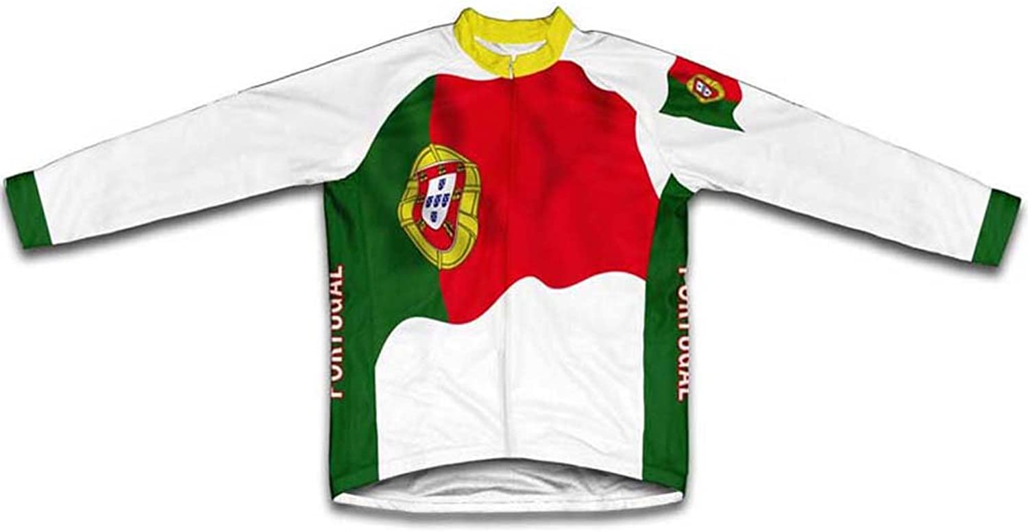 Portugal Flag Winter Thermal Cycling Jersey for Women