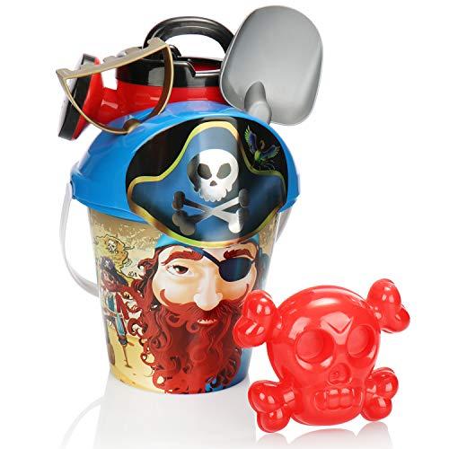 com-four® 6-teiliges Strandspielzeug-Set - Sandspielzeug für Strand und Sandkasten - Eimer, Deckel mit Sieb, Schippe, Harke, Form und Gießkanne (blau)
